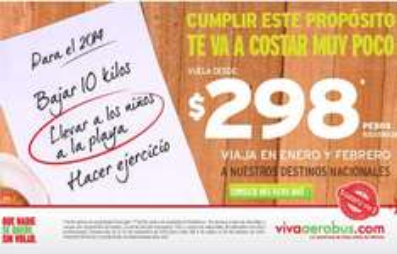Vivaaerobus: vuelos desde $298 para enero y febrero