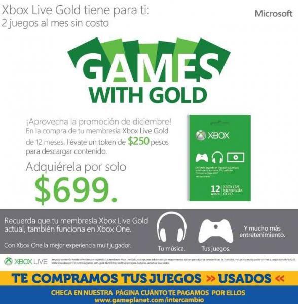 Gratis $250 para Xbox Live comprando suscripción Gold o 3 meses gratis comprando control