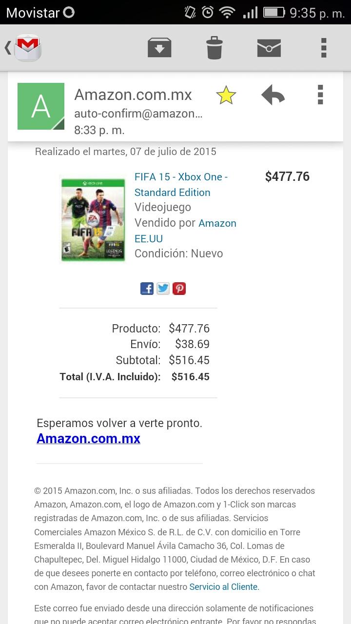 Amazon: Fifa 15 para Xbox One, PS4, PS3, PSVita y Wii Envío incluido