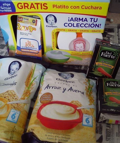 CHEDRAUI; Plato y 2 cereales gerber en $36; verdura en conserva $2, 2 mantequillas de 90 grs en $9.50, jabón Zote $9.05