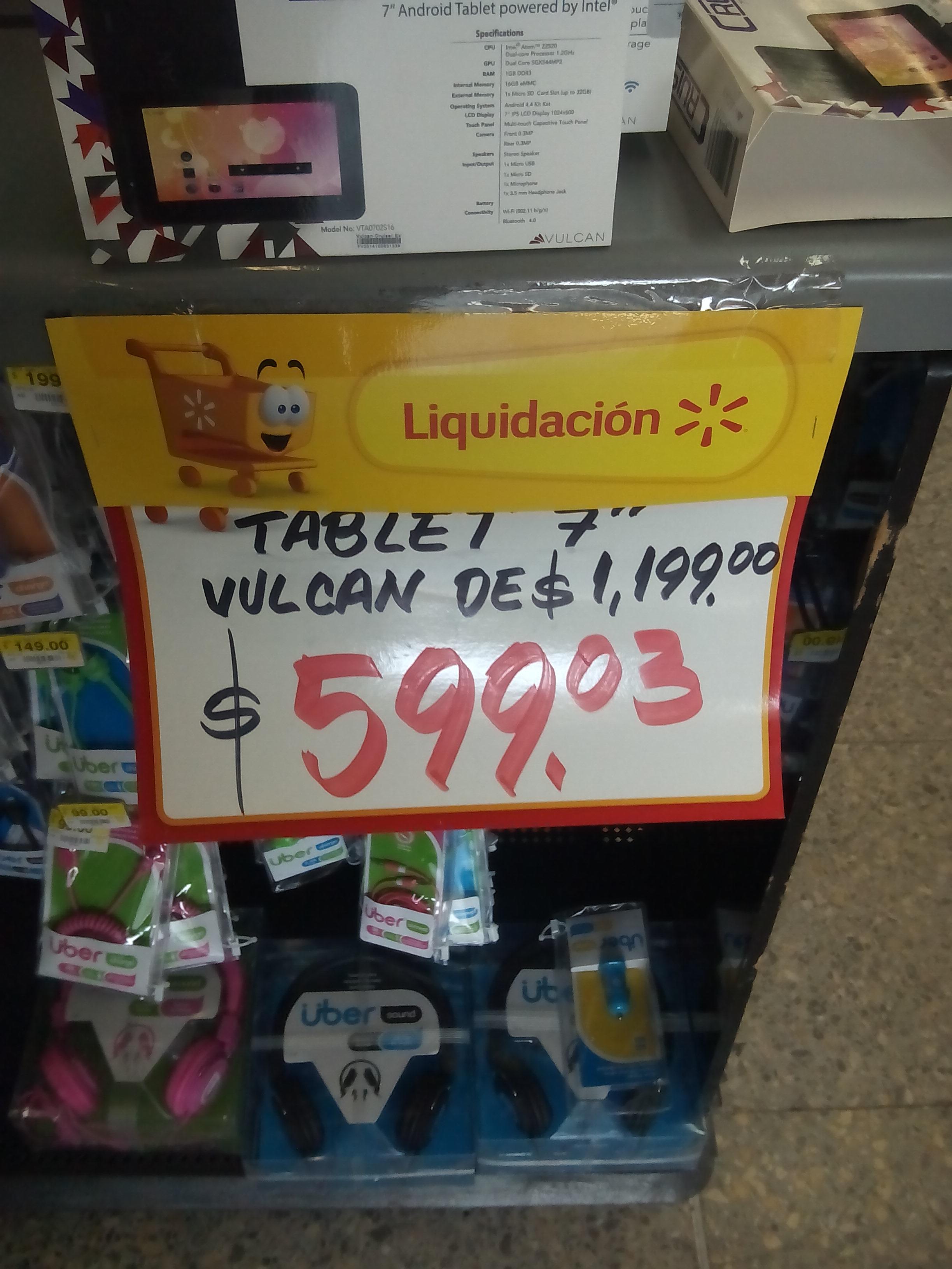 Walmart: tabletas vulcan $599.03