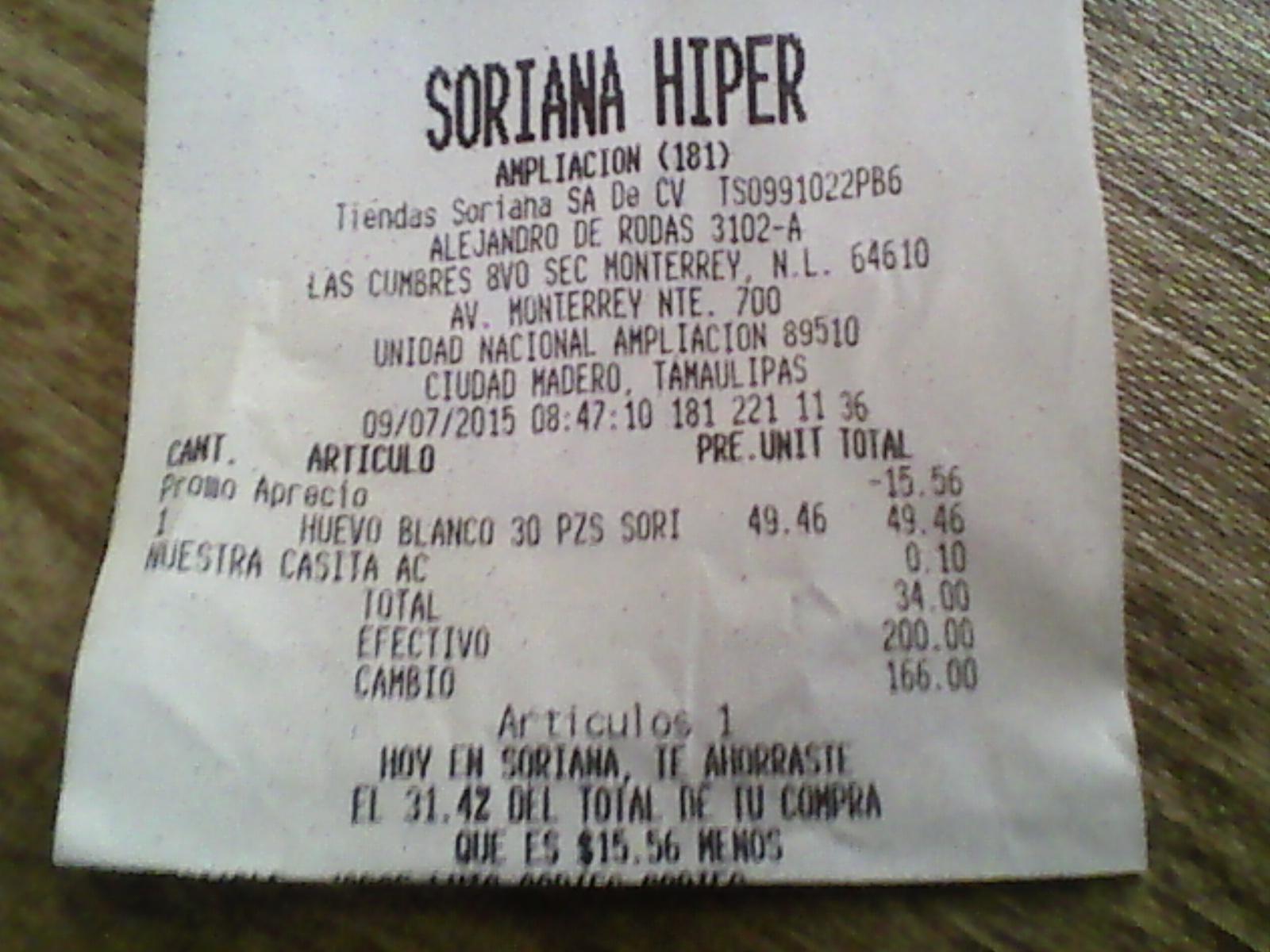SORIANA HIPER: treinta huevos por $34