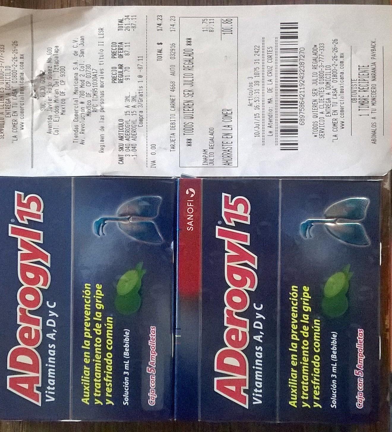 Comercial Mexicana Aderogyl (5Amp) $58 Comprando 3 (Regular $90)