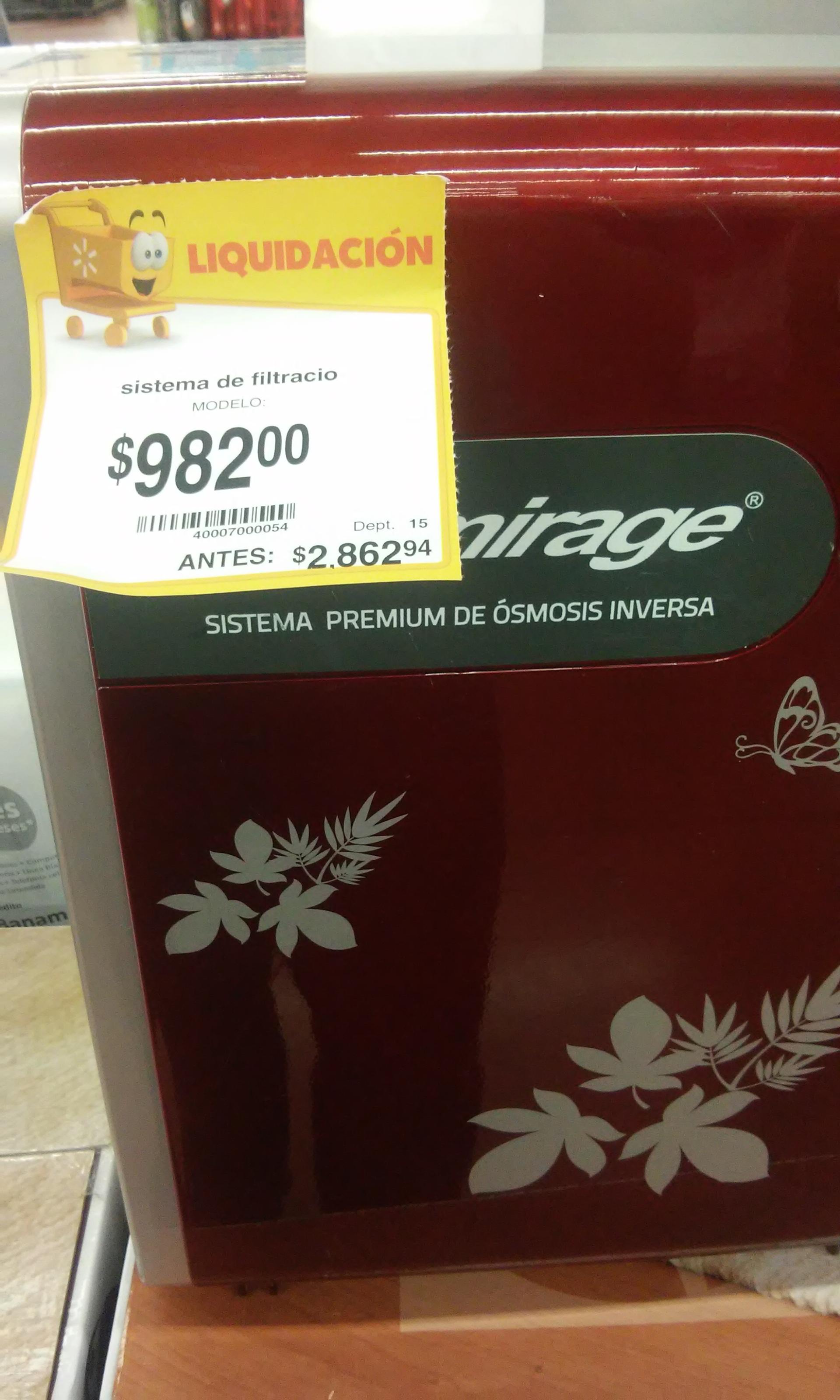 Walmart: Sistema premium de osmosis inversa Mirage (Purificador de agua) de $2,862 a $982