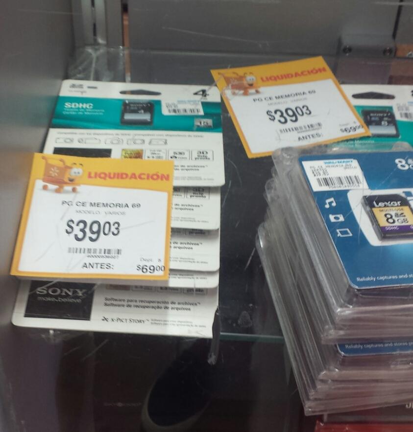 Walmart Memoria SDHC clase 4 $39.03