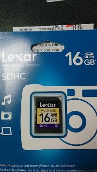 Walmart: memoria SD de 16gb a $69.03