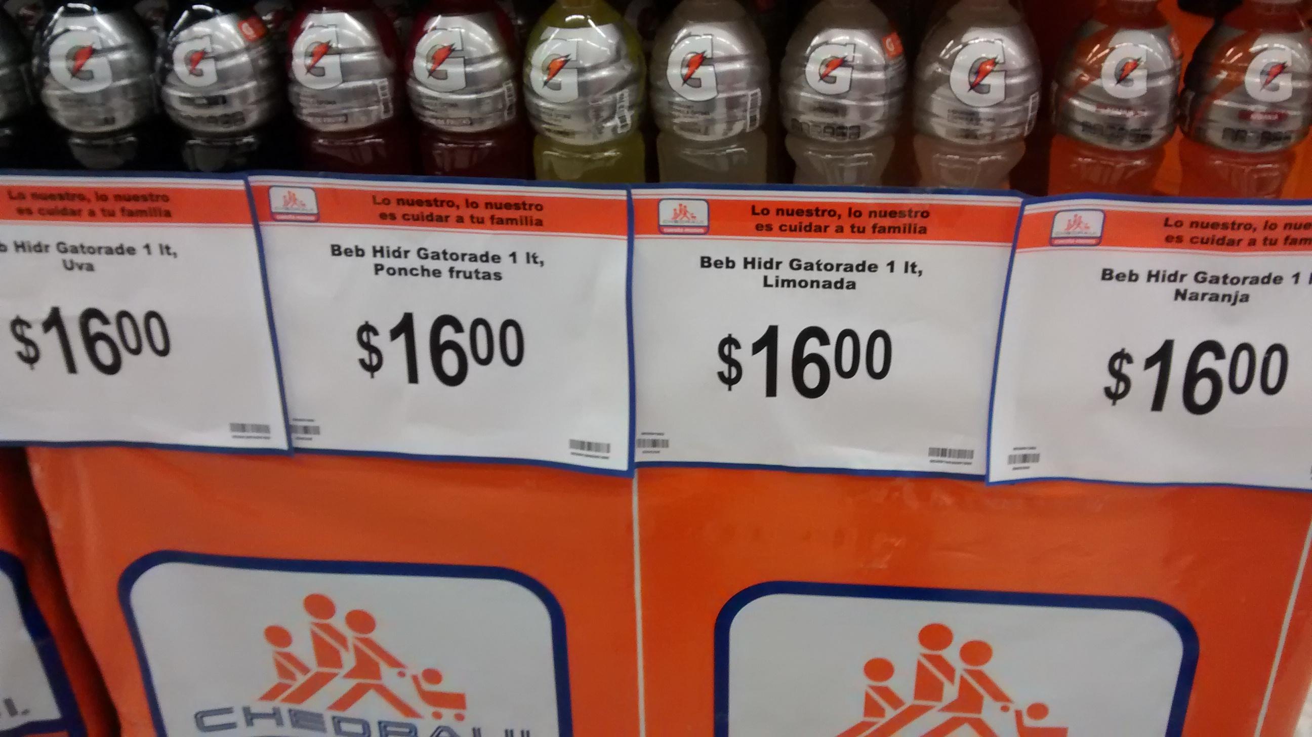 CHEDRAUI: Gatorade 1L a $16