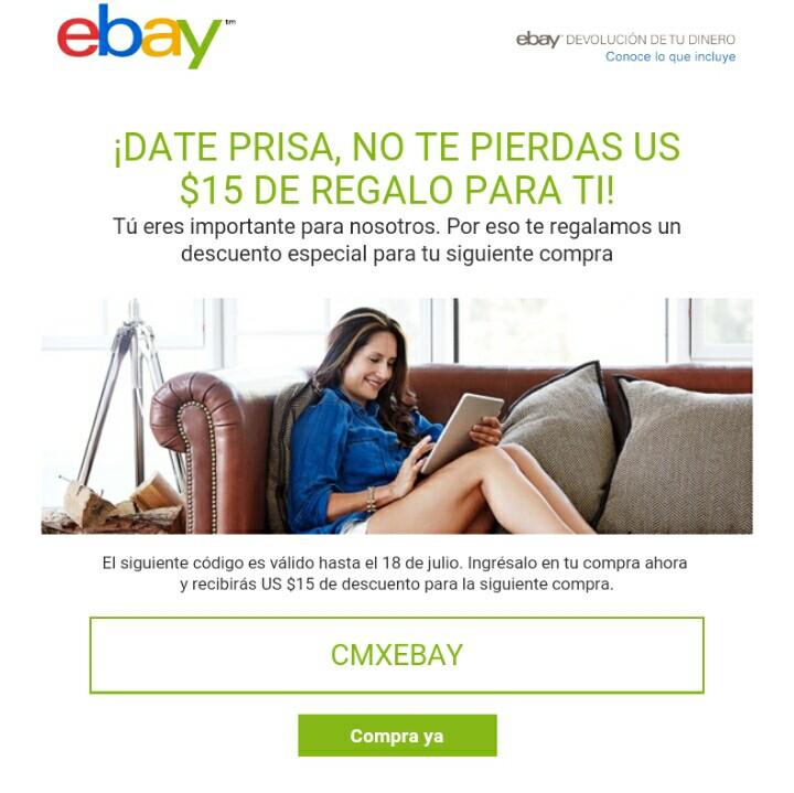 eBay: 15 dlls de reembolso
