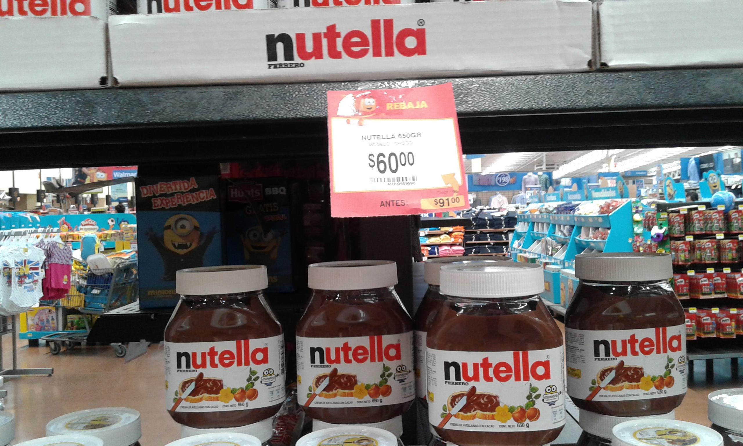 Walmart: Nutella de 650 gr a $60