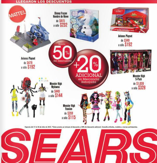 Sears: 5 muñecas Monster High $328 y otras ofertas en juguetes