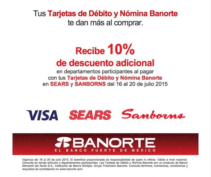 Banorte: 10% de descuento al pagar con tarjeta de debito en Sears y Sanborns