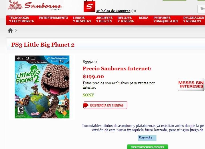Sanborns: Little Big Planet 2 para PS3 $199