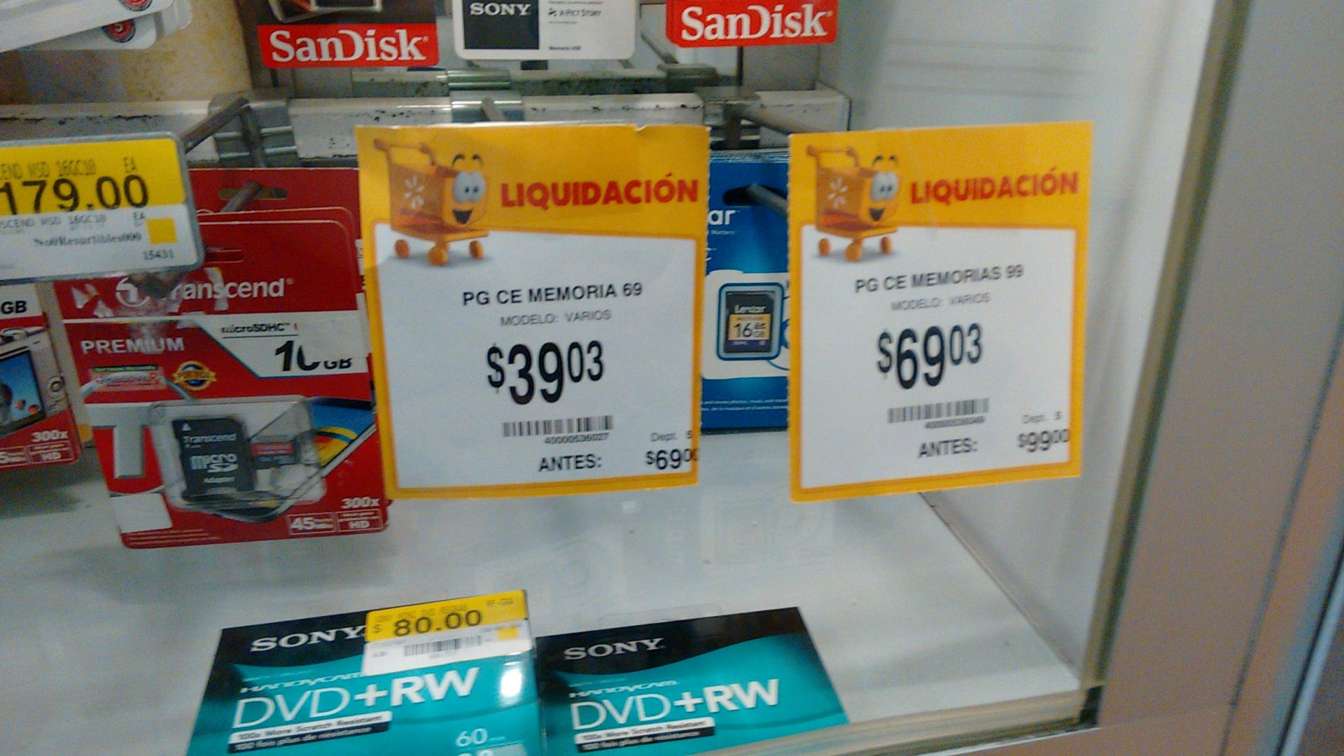Walmart: memorias sd de 8 y 16 Gbytes a $39 y $69