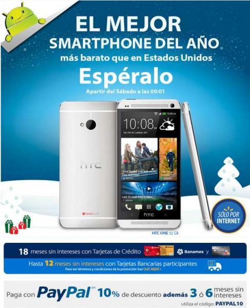 Campanadas Walmart: HTC One 32GB $4,491 ó $4,990