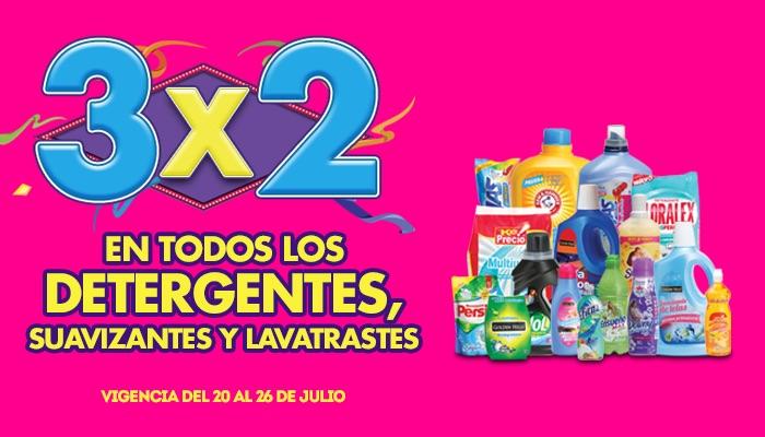 Ofertas de Julio Regalado 2015 en La Comer: 3x2 en todos los detergentes, suavizantes y lavatrastes