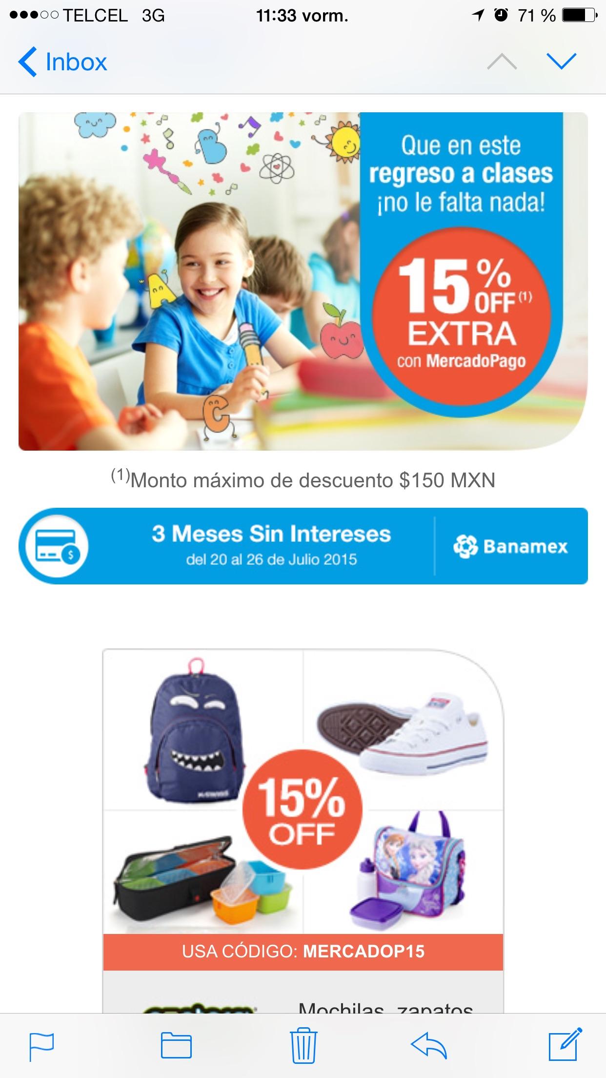 15% de descuento en varias tiendas pagando con MercadoPago (incluye Walmart)