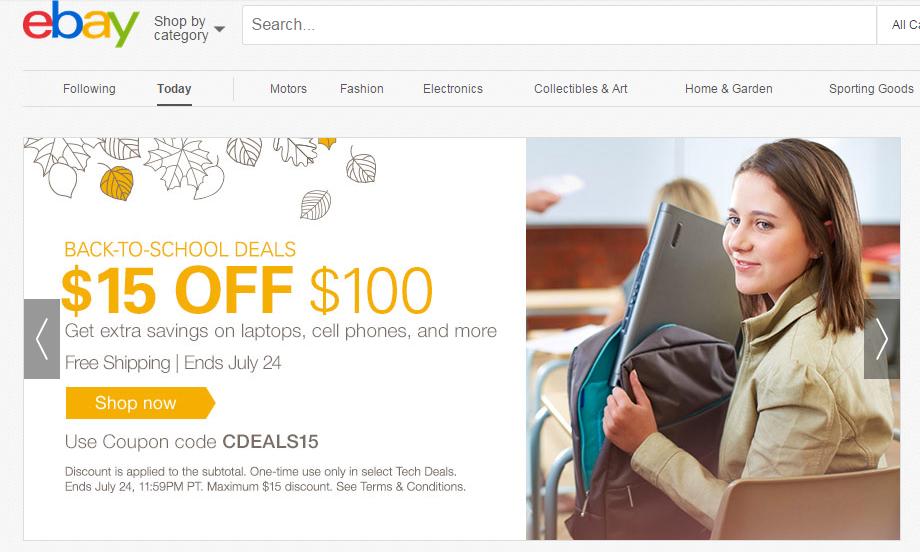 Ebay cupon de 15 USD en laptops, celulares y mas