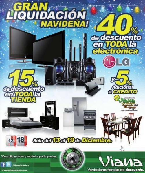 Gran liquidación navideña Viana: 40% en marca LG y más
