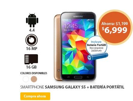 Walmart: Samsung Galaxy S5 + bateria portatil a $6,999