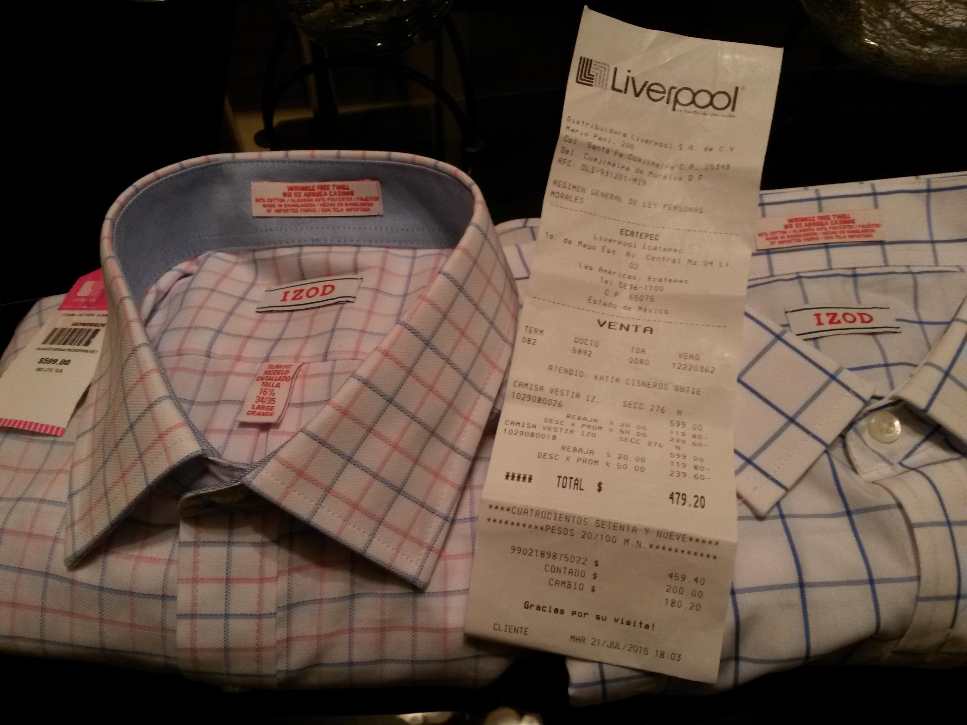 Liverpool: Camisa IZOD con 50%+20% de descuento, $599 a $ 240
