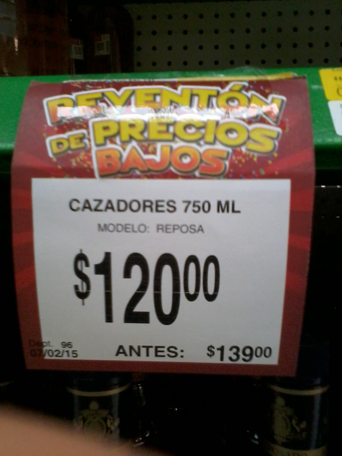Bodega Aurrerá: tequila cazadores 750 ml $120