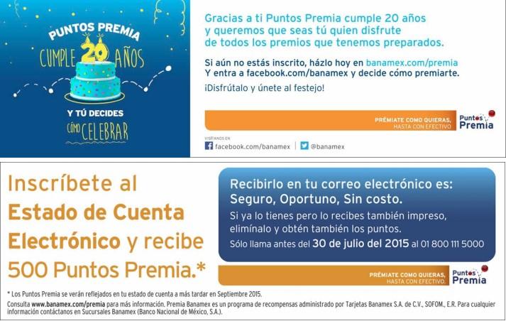 Banamex: 500 puntos premia por inscribirse al estado de cuenta electrónico