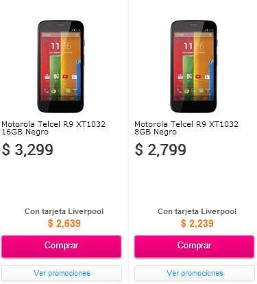Liverpool: Moto G $2,239 y Galaxy Galaxy SIII Mini $2,399 (región 9)