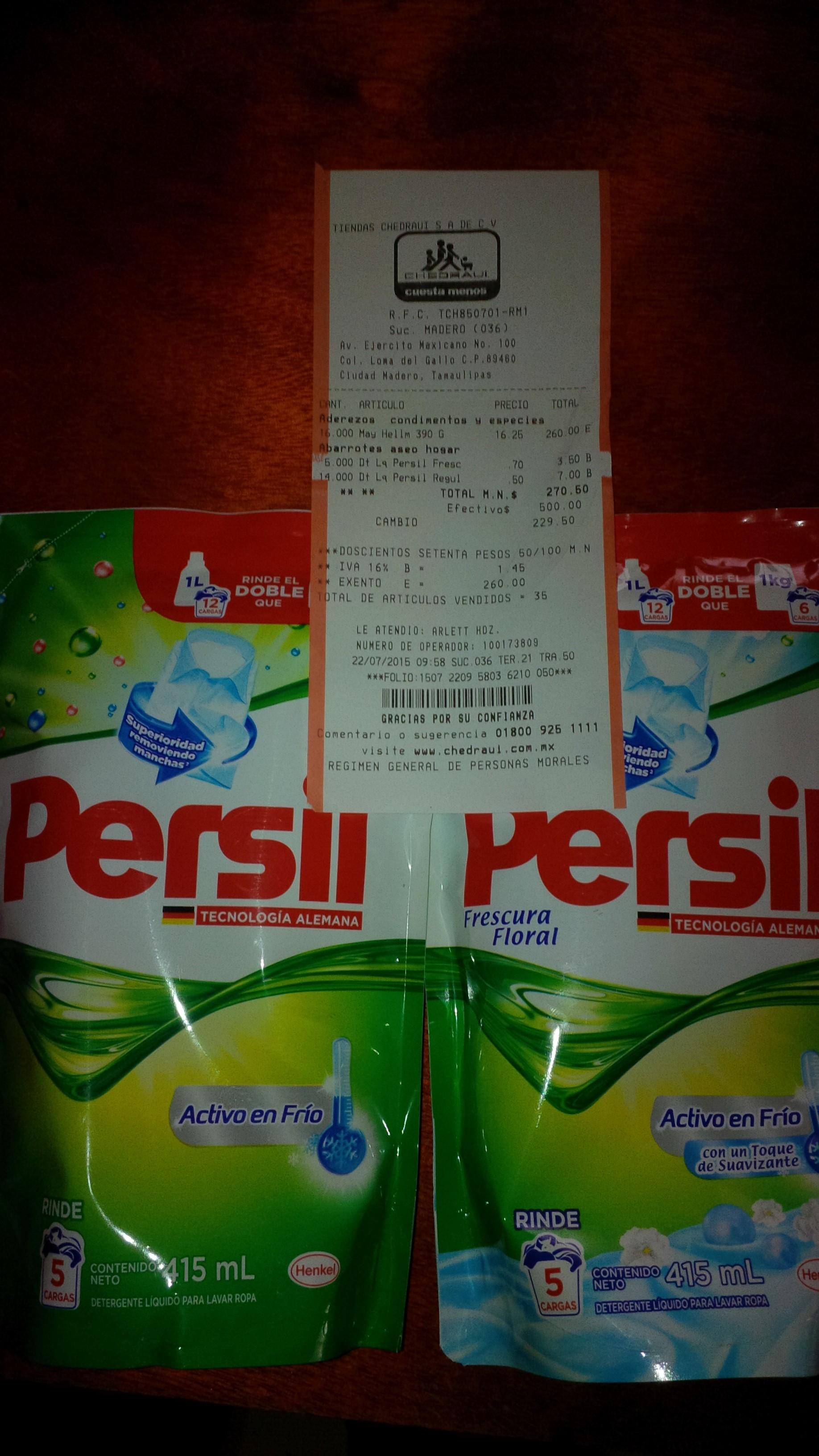 Chedraui: Detergente Persil 415 ml $0.50