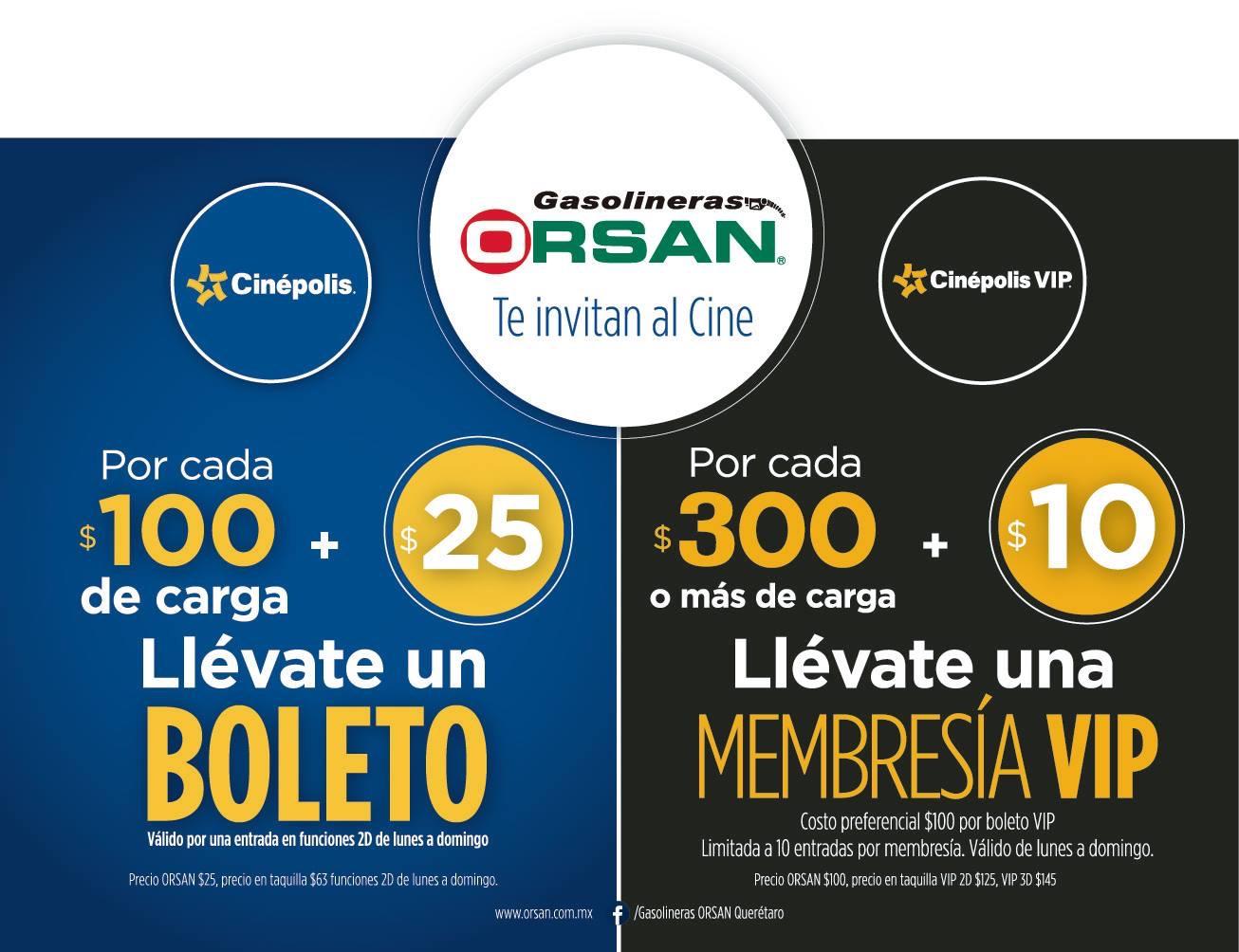 Gasolineras RSAN: Boleto de cine $25 o membresía VIP $10 poniendo gas