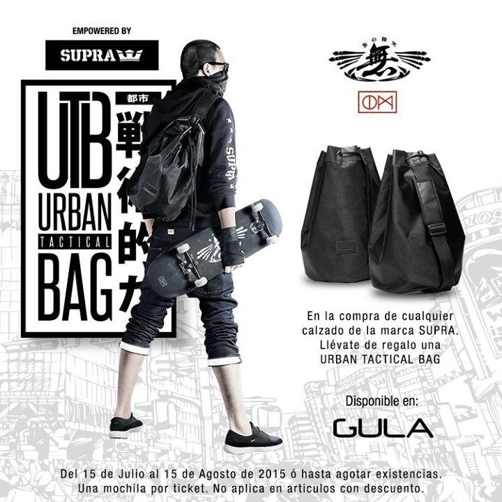 En la compra de cualquier calzado Supra en tiendas Gula Mochila Urban Tactical Bag gratis.