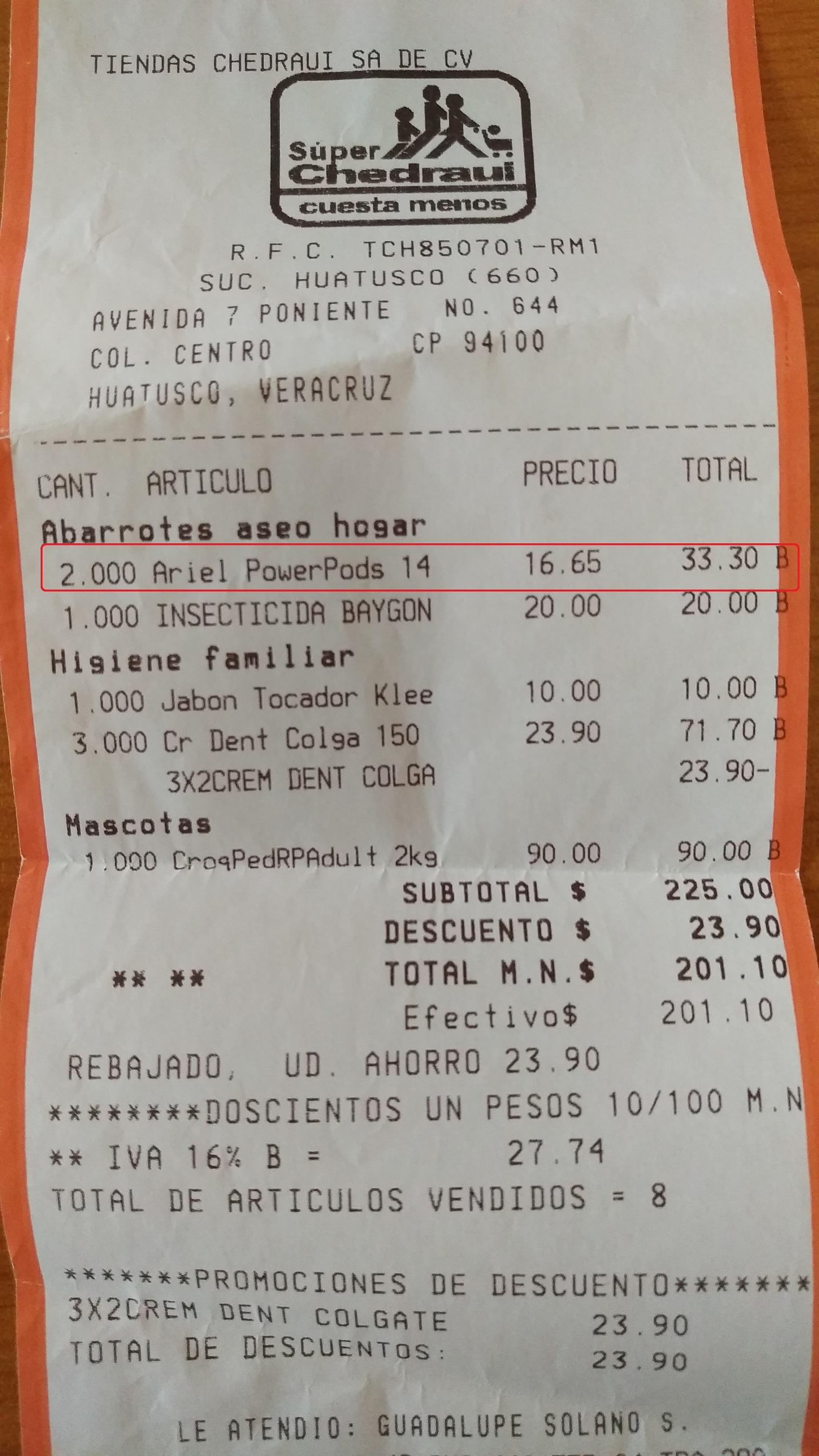 Chedraui: Ariel Power PODs en 16.65 precio regular 65 a 70 pesos