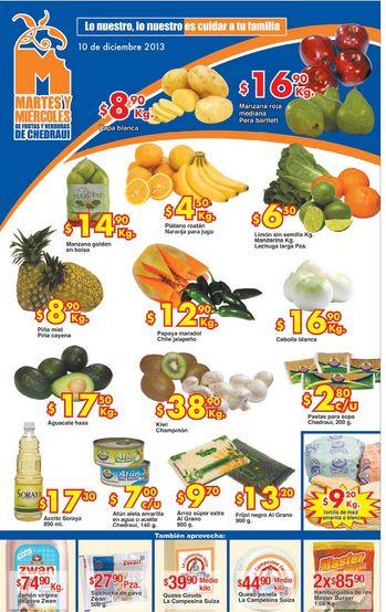 Ofertas frutas y verduras Chedraui 10 y 11 de diciembre: plátano $4.90 y más