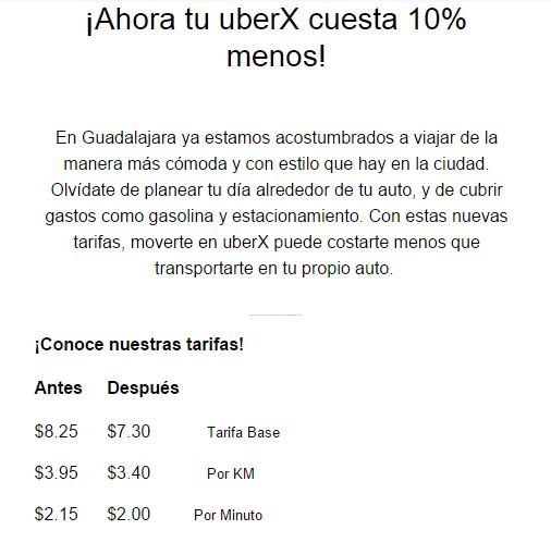 UBERX con nuevas tarifas para Guadalajara, 10% menos