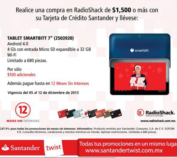 RadioShack: tablet a $500 con compra mínima con Santander