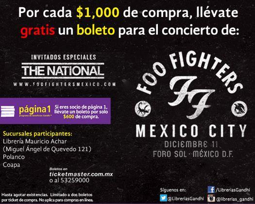 Gandhi: boleto gratis para Foo Figthers por cada $600 o $1,000 de compra