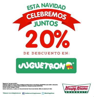 20% de descuento para Juguetron con consumo mínimo en Krispy Kreme o Sbarro