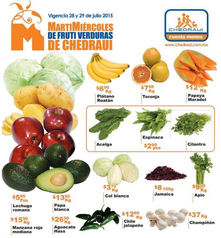 Ofertas de frutas y verduras en Chedraui 28 y 29 de julio