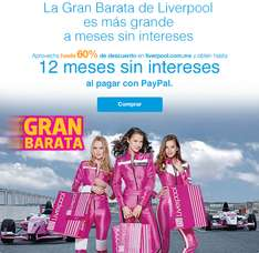 Liverpool: 12 meses sin intereses con PayPal