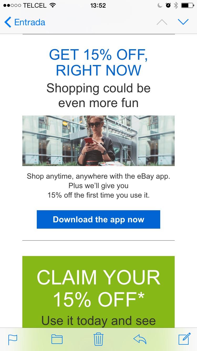 ebay 15% de descuento en primer compra desde la app iOS android y Windows phone