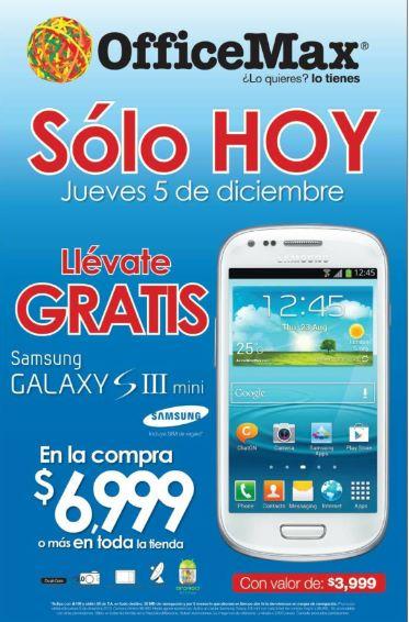 OfficeMax: Samsung Galaxy SIII Mini gratis con compra mínima