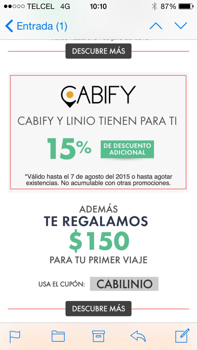 15% de descuento en productos seleccionados Linio y un viaje de $150 en Cabify