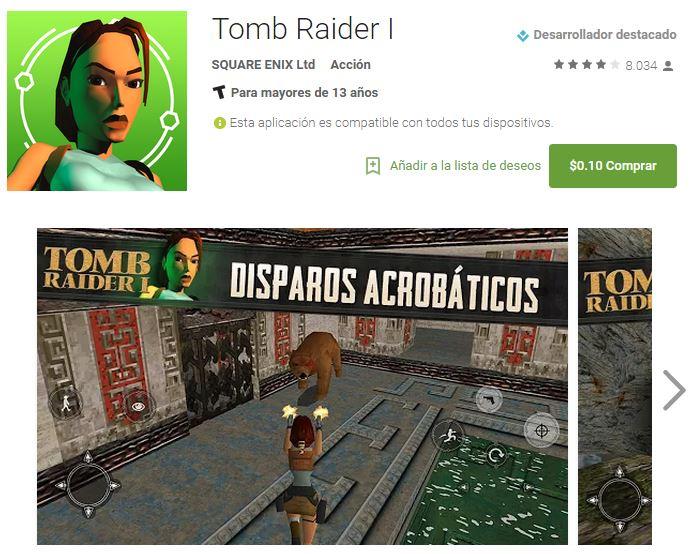 Tom Raider 1 para Android por 10 centavos