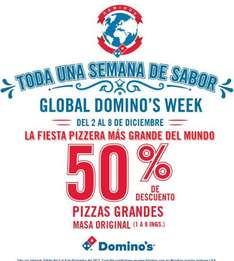 Global Domino's Week Domino's Pizza: 50% de descuento en pizza grande