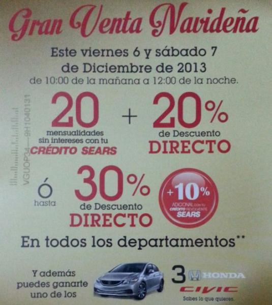 Gran venta navideña Sears 6 y 7 de diciembre de 2013