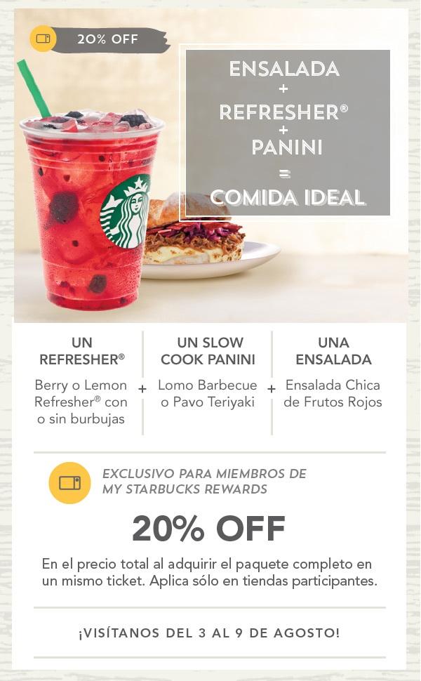 Starbucks ensalada+refresher+panini 20% descuento (miembros Starbucks Rewards)