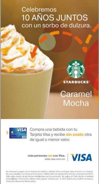 Starbucks: 2x1 en bebidas pagando con Visa