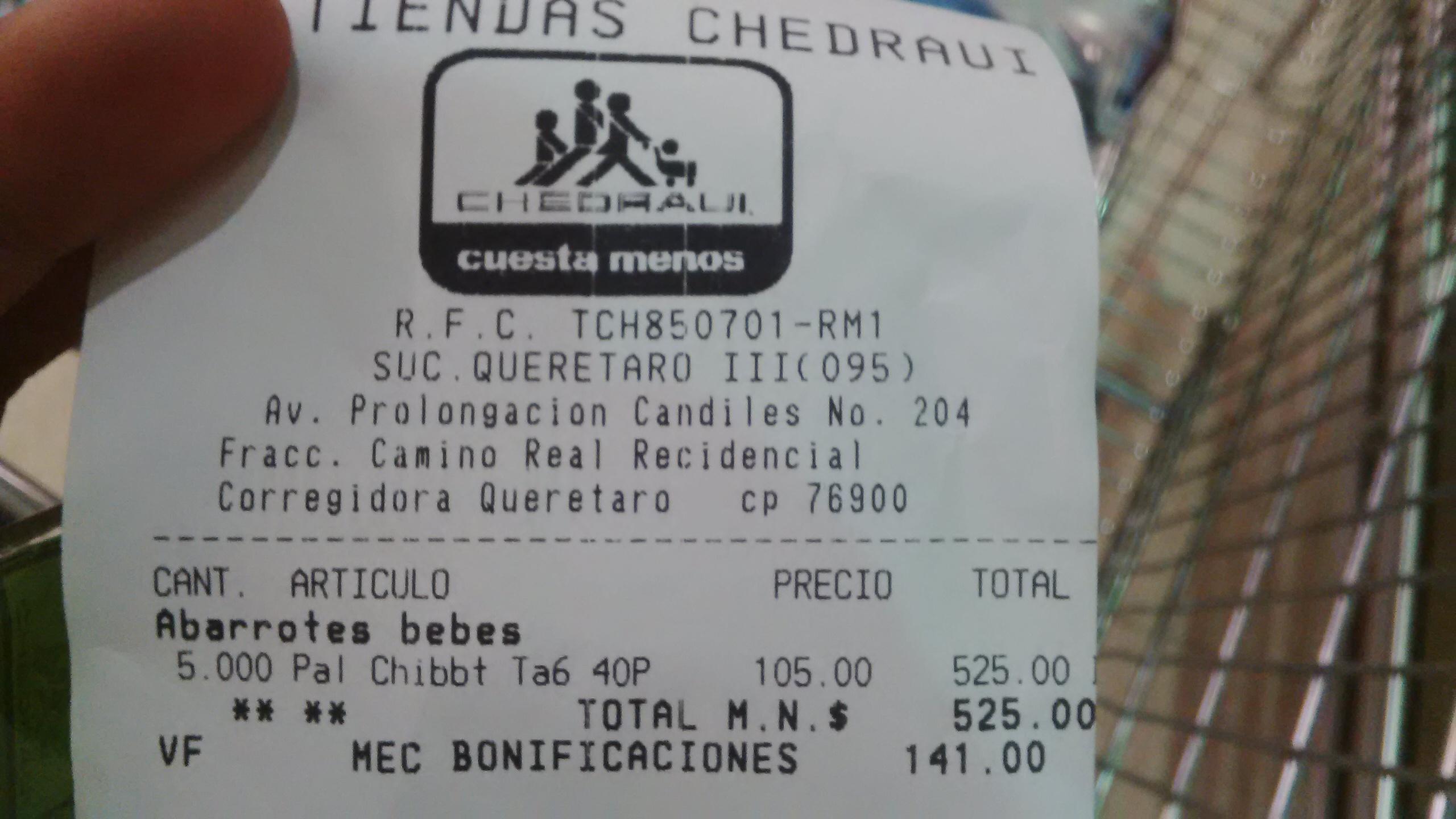 Chedraui: Pañales bbtips etapa 6 $105.00 precio normal arriba de $165.00