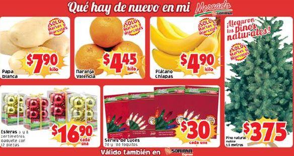 Ofertas de frutas y verduras en Soriana 3 y 4 de diciembre: plátano $4.90 y más