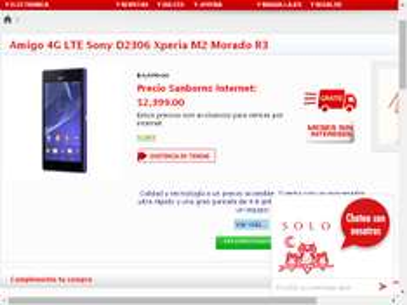 Sanborns: celular Sony D2306 Xperia M2 $2,399