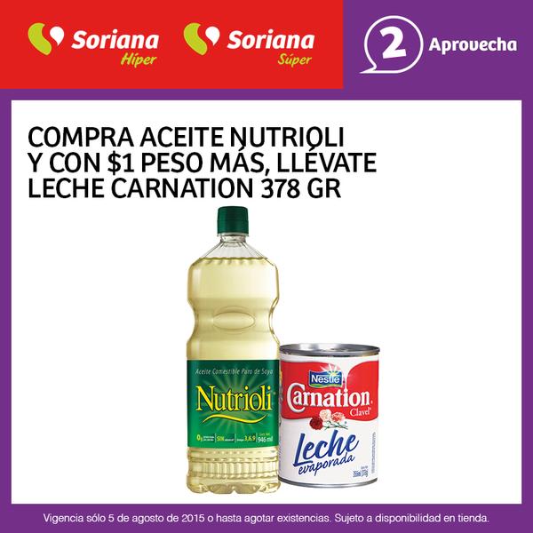 SORIANA: Compra un Nutrioli y mas $1 te llevas una leche Carnation.